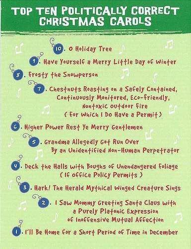 Top Ten Politcally Correct Christmas Carols