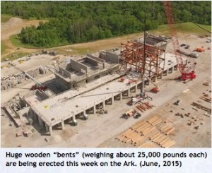 """Huge wooden """"bents"""" (weighing about 25,000 pounds each) were erected in June 2015 on the Ark Encounter."""