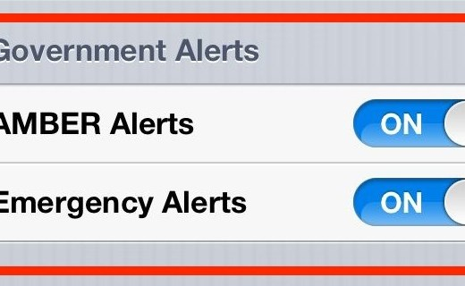 Government Alerts iPhone Notification Setting (Wireless Emergency Alerts)