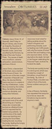 If Jesus had an Obituary