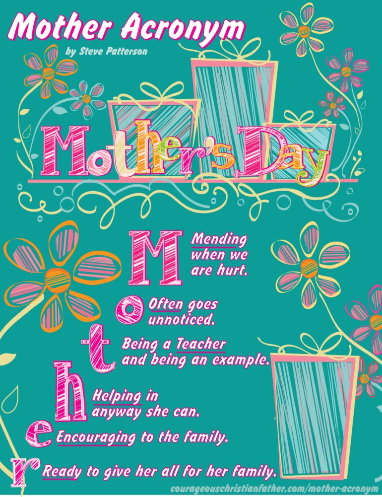 Mother Acronym (Free Printable) #MothersDay