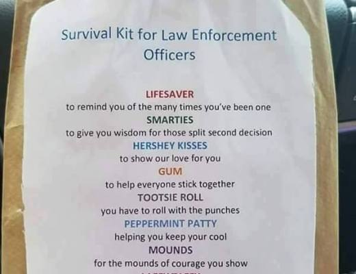 Survival Kit for Law Enforcement - using candy and a message to help show your support for your local law enforcement officers.