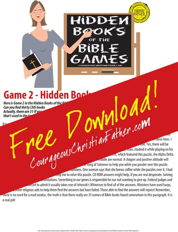 Hidden Books of the Bible - Game 2 Free Easter Printables