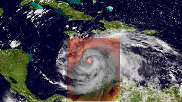 Hurricane Matthew Skull Overlay with Satellite Image