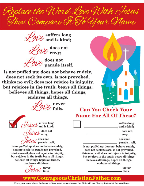 Replace the word love with Jesus then compare it to your name 1 Corinthians 13 - Love Is - Jesus Is - Your Name Is