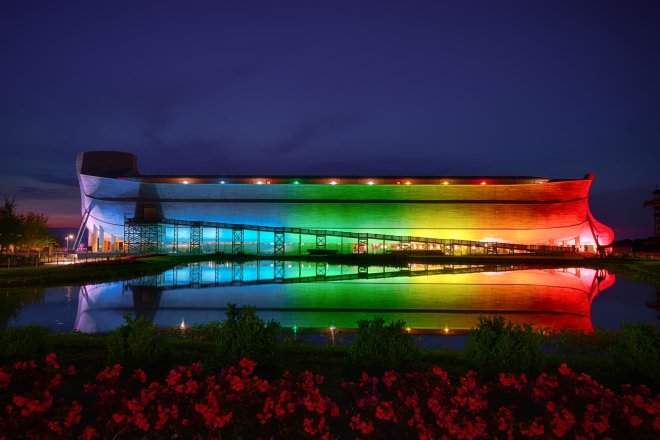 The Ark Encounter Lit Up Rainbow Colors to show support that the rainbow belongs to God and His covenant after the Flood. #ArkEncounter #Rainbow