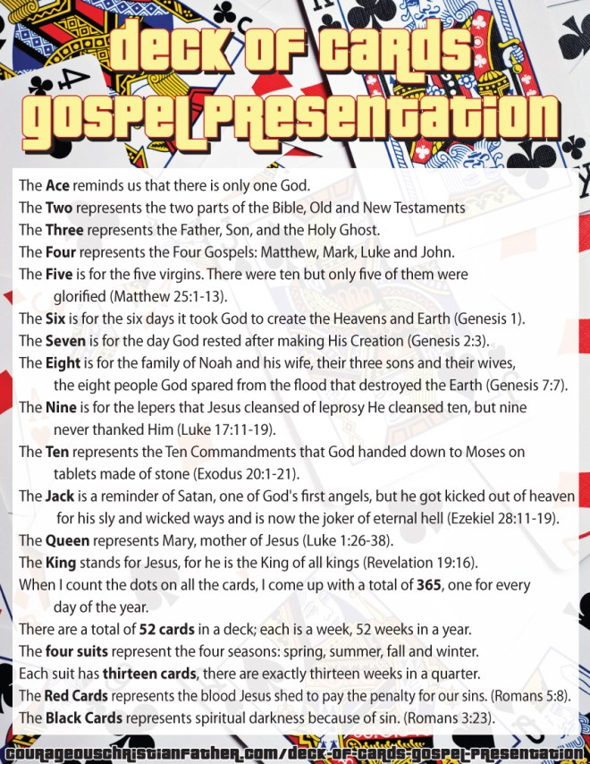 Deck of Cards Gospel Presentation Printable