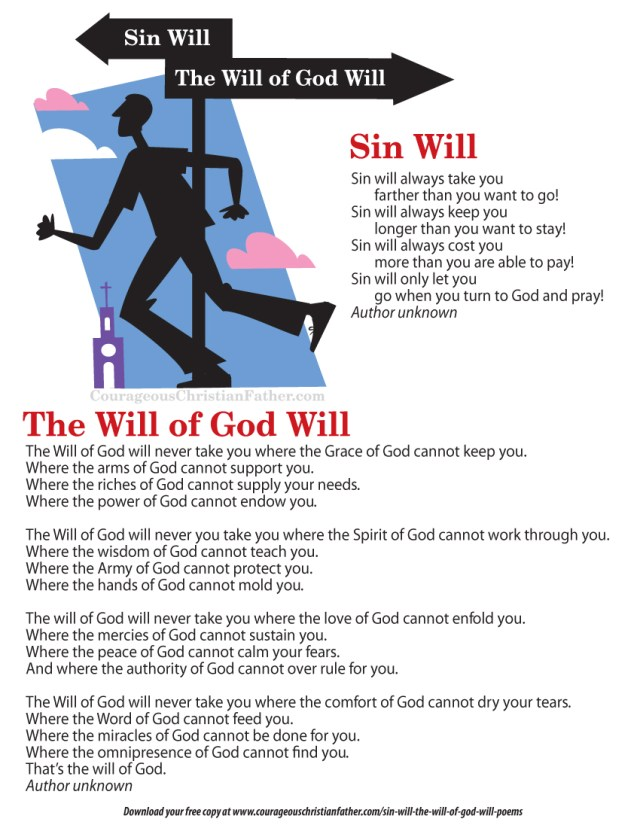 Sin Will & The Will of God Will Poems Printable