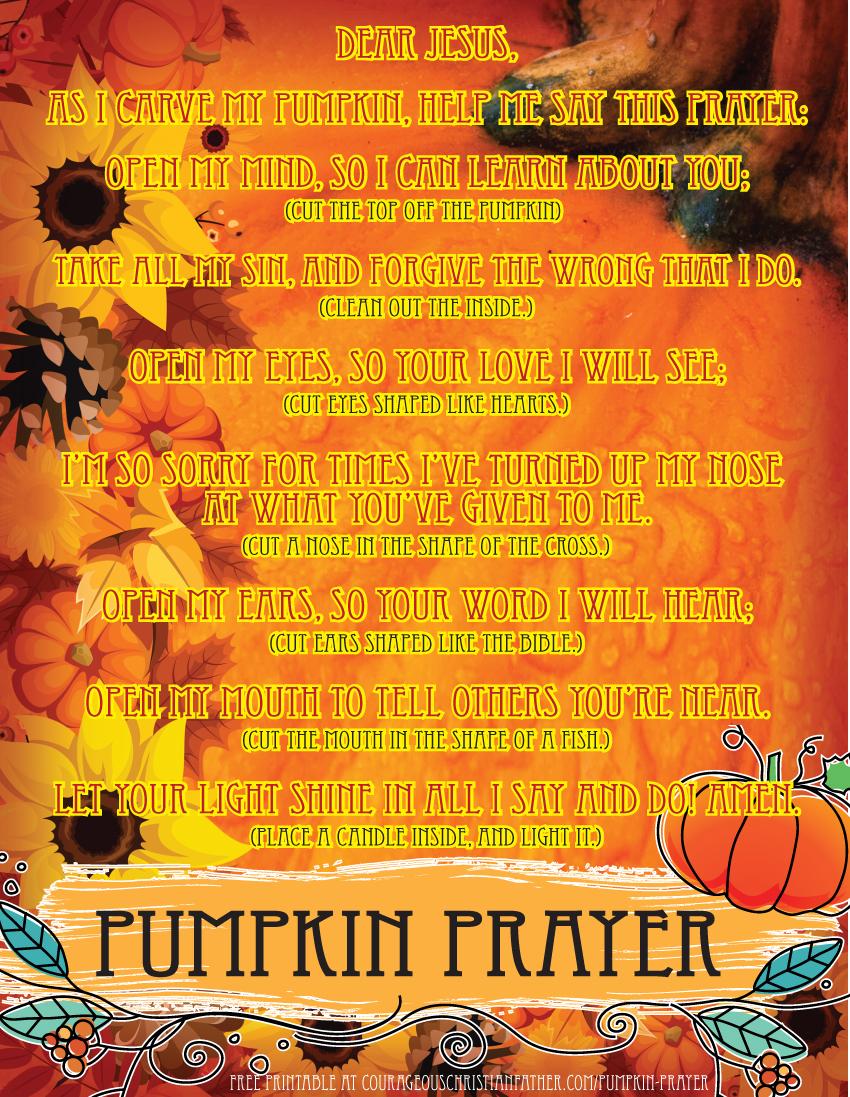 photograph relating to Pumpkin Prayer Printable named Pumpkin Prayer Printable Brave Christian Dad