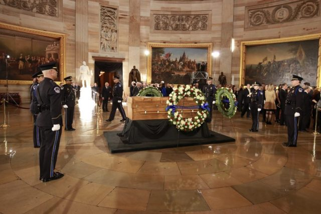 On Wednesday, Feb. 28, one week after his death, Billy Graham's body lay in honor in the U.S. Capitol Rotunda. Only four civilians have been honored in this way. Graham is the First Religious Leader to Lay in Honor.