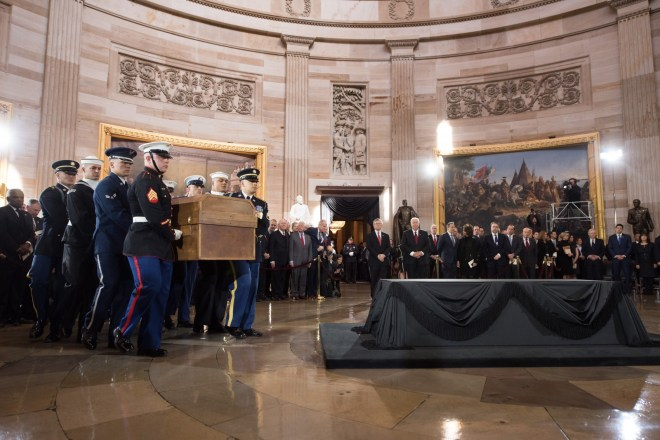 Feb. 28, 2018: The body of Billy Graham arrives in the U.S. Capitol Rotunda for a private ceremony prior to the public lie in honor. Graham is only the fourth private citizen—and the first religious leader—to be given this distinction.