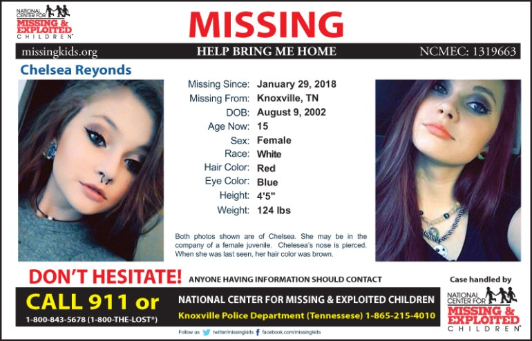 Missing Kid: Chelsea Reynolds (Knoxville, TN area)
