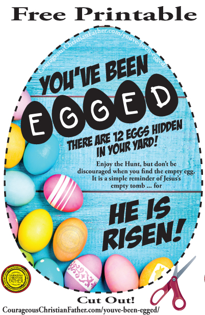 You've Been Egged! There are 12 Eggs Hidden In Your Yard! Enjoy the Hunt, but don't be discouraged when you find the empty egg. It is a simple reminder of Jesus's empty tomb ... for HE IS RISEN! (Free Easter Printables)