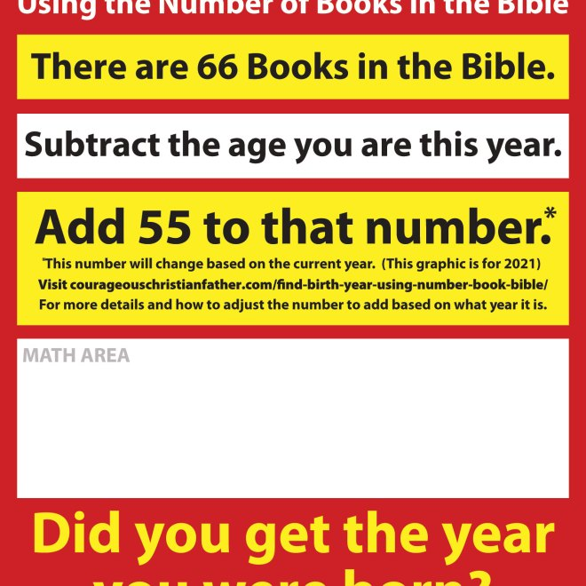 2019 - Find Your Birth Year using the number of Books in the Bible.