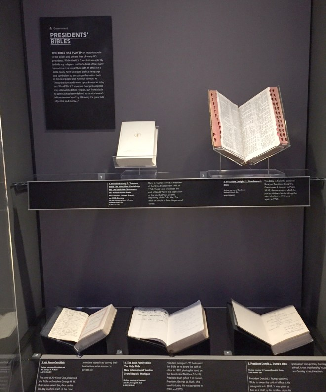 Presidents' Bibles at the Museum of the Bible (Harry Truman's Bible, Dwight D. Eisenhower's Bible, Air Force One Bible, Bush Family Bible, Donald J. Trump Bible)