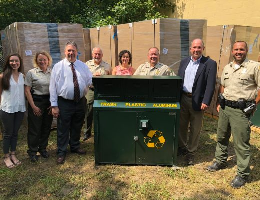 Tennessee State Parks Offers More Recycling Options for Visitors - Visitors at Tennessee State Parks now have more recycling options thanks to new bins delivered this month to all 56 parks. Pictured L-R: Kelsey Davis; Robin Peeler, Tennessee State Parks Area Manager; Larry Christley; Pat Wright, Montgomery Bell State Park Manager; Dr. Kendra Abkowitz Brooks, TDEC assistant commissioner; Mike Robertson, Tennessee State Parks Director of Operations; Brock Hill; Scott Ferguson, Montgomery Bell State Park Ranger