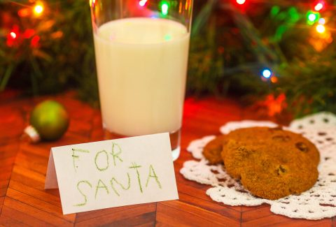 Leaving cookies and milk for Santa Claus - The practice of leaving cookies and milk for Santa Claus is a Christmas Eve tradition.