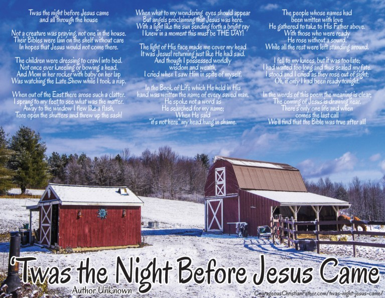 Twas the Night Before Jesus Came Printable