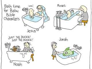 Bath Time for Baby Bible Characters Comic
