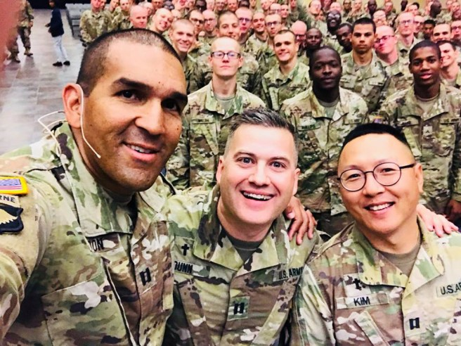 Chaplain Rondon (left) at July 29, 2018 Chapel service, when 200 soldiers gave their lives to Christ, overall nearly 1,500 have gave their life to Christ at the Fort Leonard Wood Military Base.