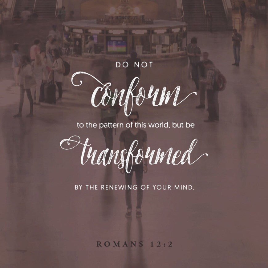 """VOTD June 7, 2019 """"And do not be conformed to this world, but be transformed by the renewing of your mind, so that you may prove what the will of God is, that which is good and acceptable and perfect."""" ROMANS 12:2 NASB"""