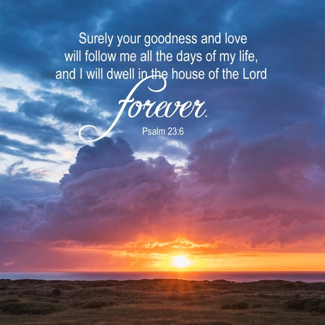 """VOTD June 24, 2019 """"Surely goodness and lovingkindness will follow me all the days of my life, And I will dwell in the house of the LORD forever."""" PSALM 23:6 NASB"""