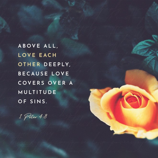 VOTD August 9, Above all, keep fervent in your love for one another, because love covers a multitude of sins. 1 Peter 4:8