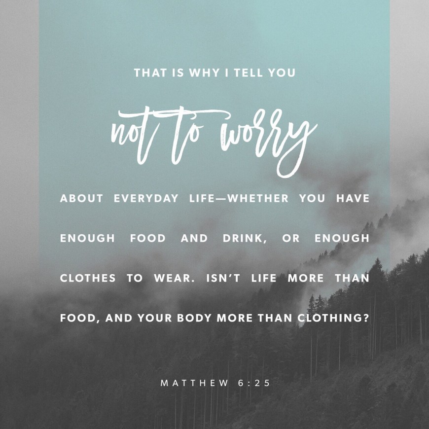 VOTD July 6, 2019 - For this reason I say to you, do not be worried about your life, as to what you will eat or what you will drink; nor for your body, as to what you will put on. Is not life more than food, and the body more than clothing? MATTHEW‬ ‭6:25‬ ‭NASB‬‬