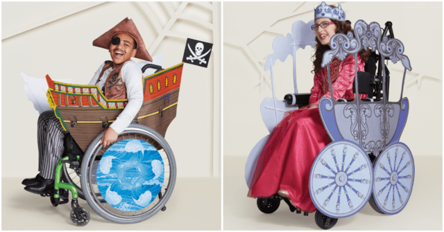 The pirate ship and princess carriage are designed specifically for wheelchair users. Halloween Costumes for those in wheel chairs, sensory issues