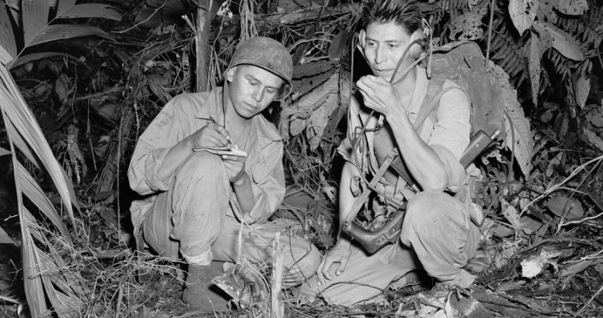 Navajo Indian Code Talkers Henry Bake and George Kirk, December 1943  U.S. Marine Corps, Department of the Navy, Department of Defense (National Navajo Code Talkers Day)