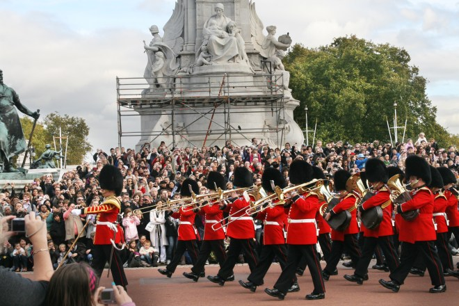 9/13 National Anthem Played at Changing of the Guard in London on September 13, 2001 and Queen Elizabeth II gave the permission for it. (MetroCreative Stock Image)