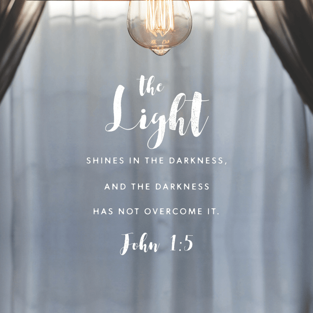 """VOTD November 17 - """"The Light shines in the darkness, and the darkness did not comprehend it."""" John 1:5 NASB"""