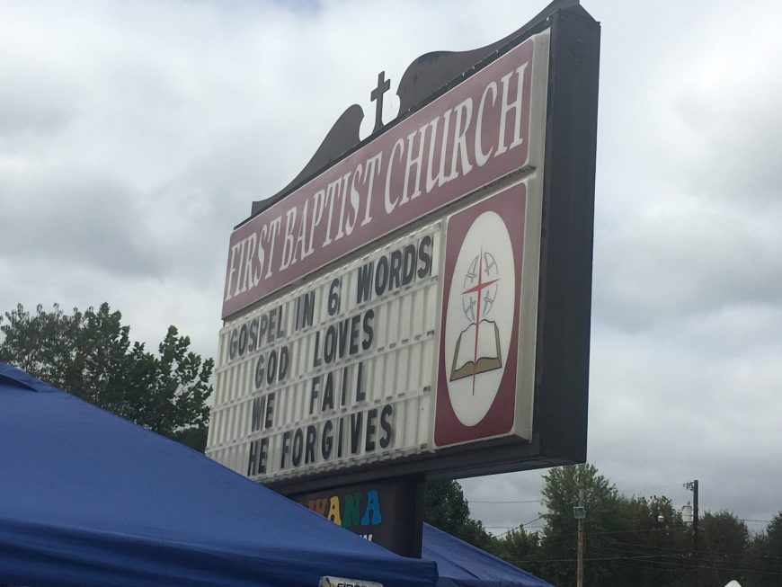 Gospel in 6 Words Church Sign - This church sign is from First Baptist Church of Barbourville, KY and shares what the gospel is in six words and is This Week's Church Sign Saturday. (God Loves, We Fail, He Forgives)