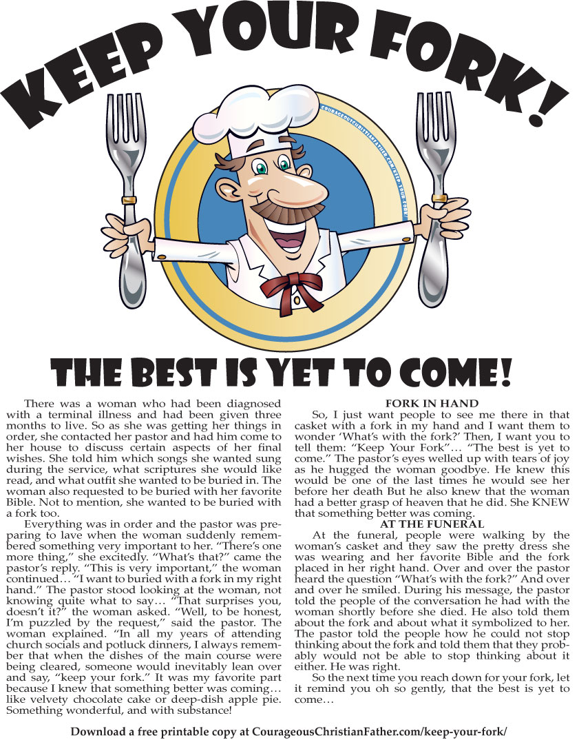 Keep Your Fork! The Best Is Yet To Come! Free Printable
