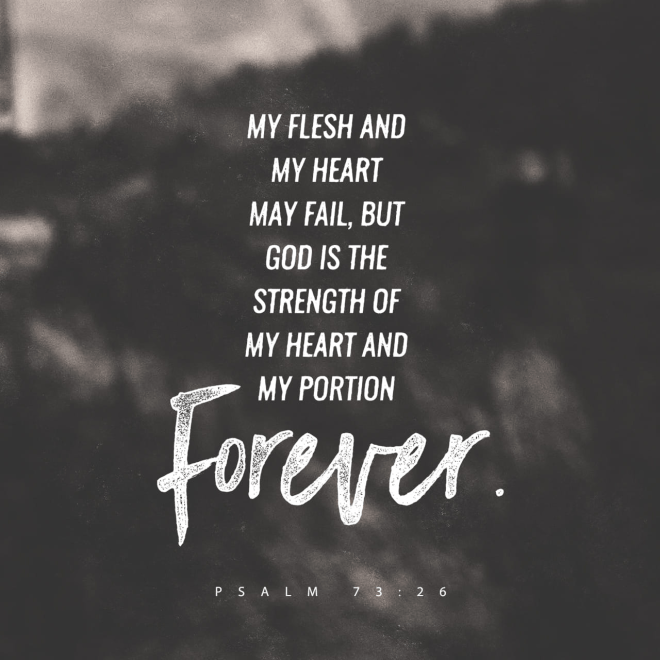 """VOTD February 15 - """"My flesh and my heart may fail, But God is the strength of my heart and my portion forever."""" Psalms 73:26 NASB"""