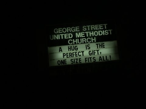 A Hug Church Sign - This church sign talks about a hug being a perfect gift. Which makes this George Street United Methodist Church this weeks Church Sign Saturday. A Hug is the prefect gift, one size fits all!
