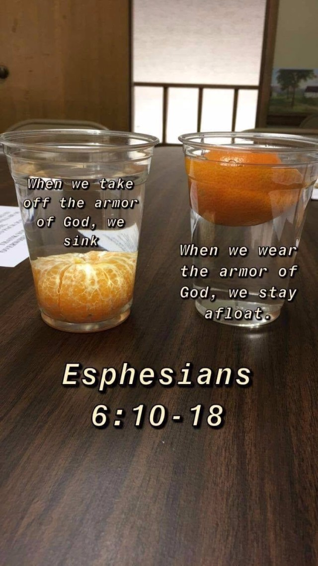 Armor of God analogy using an orange and a cup of water