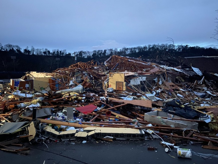 Donelson Christian Academy destroyed by tornado after a tornado hit the The Donelson area of Davidson County in Middle Tennessee.