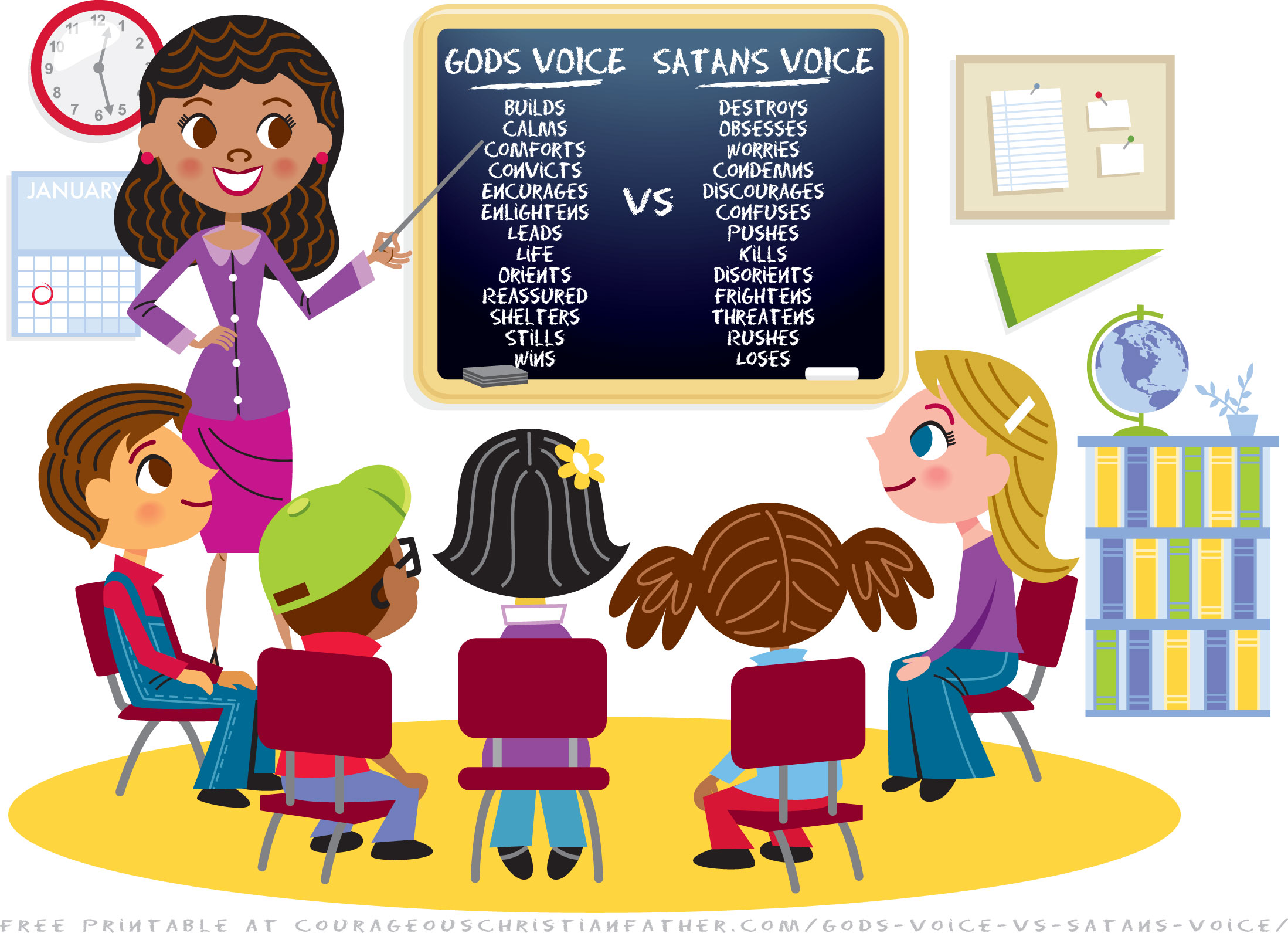 God's Voice vs Satan's Voice. I saw this graphic on Facebook and wanted to share with my readers. It tells you some things that are God's Voice and vs it to Satan's Voice. Includes Free Printable Version! #GodsVoice #SatansVoice