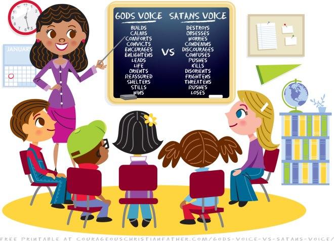 God's Voice vs Satan's Voice. See what God's voice will say and what what Satan's voice will say. Includes Free Printable Version! #GodsVoice #SatansVoice
