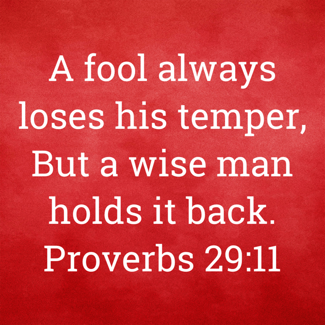 """VOTD April 27 - """"A fool always loses his temper, But a wise man holds it back."""" Proverbs 29:11 NASB"""