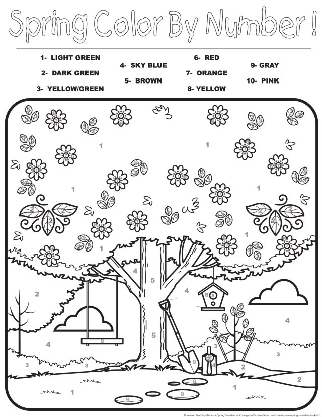 Spring Color by Number Printable -  Stay-At-Home Spring Printables for Kids - Here are some free printables for your children to do while they are staying at home.