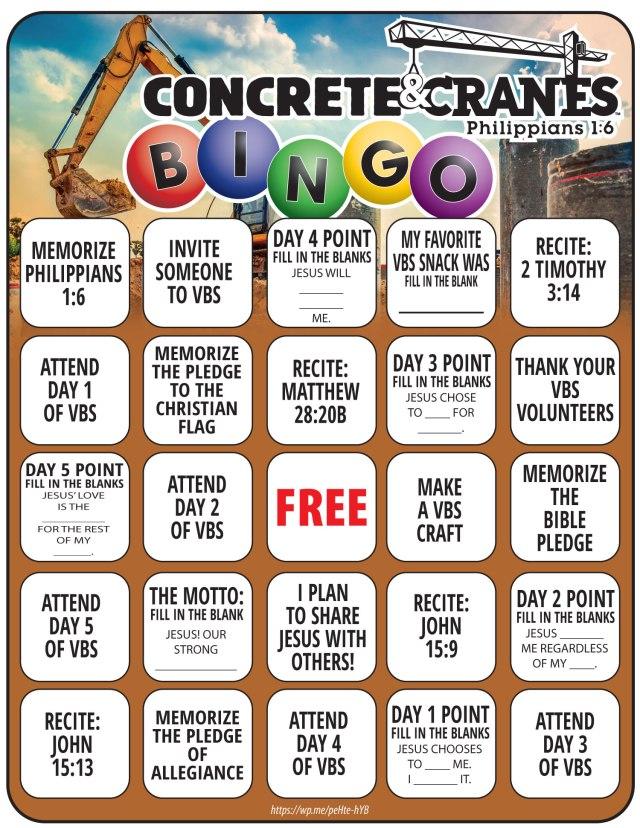 Concrete & Cranes Bingo VBS Printable - Here is a fun bingo printable that goes with the Lifeway's Concrete & Cranes VBS.