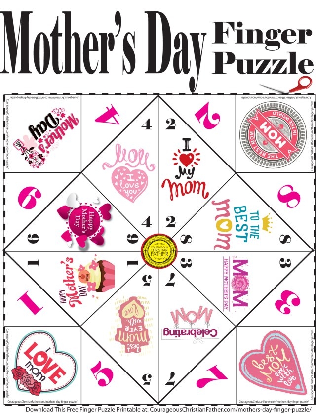 Mother's Day Finger Puzzle Printable - Here is a free finger puzzle printable just for Mother's Day! #MothersDay