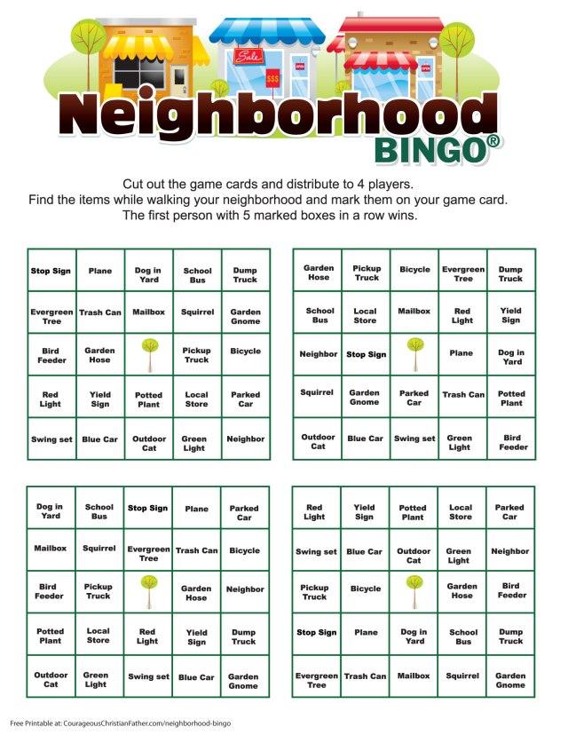Neighborhood Bingo Printable - A Free bingo printable to do in teams of 4 in your neighborhood. #Bingo #NeighborhoodBingo