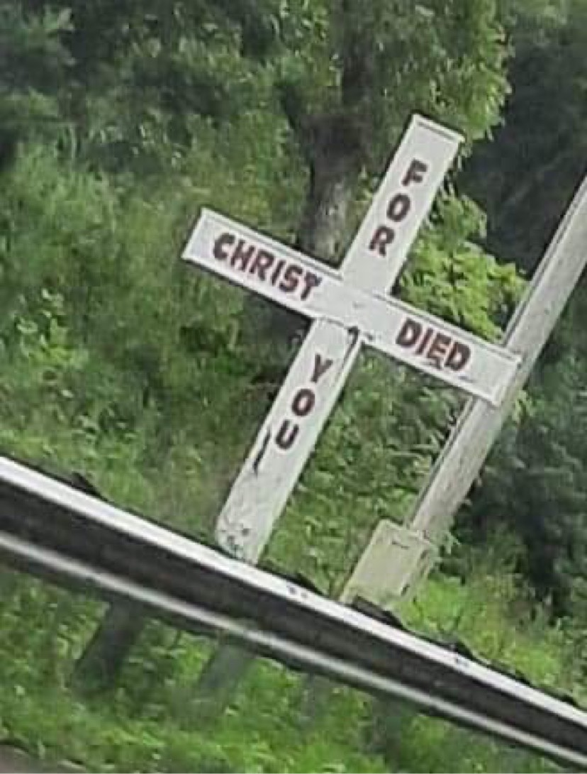 Christ Died For You Cross a cross found near Harriman, TN.