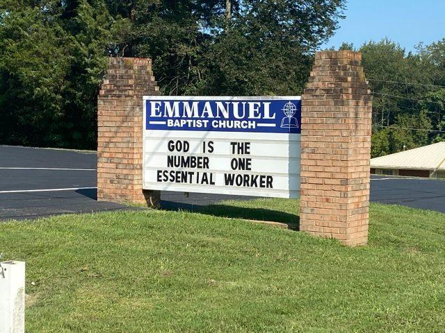 COVID Acronym Church Sign