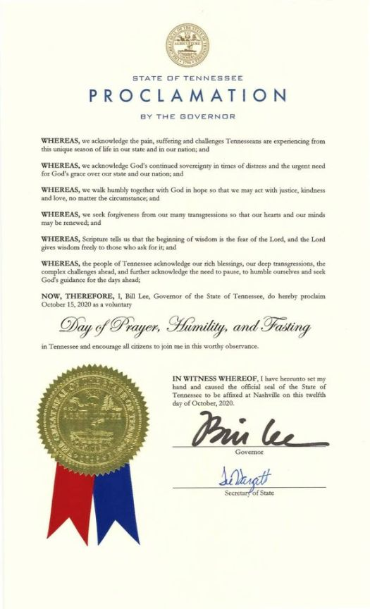 Tennessee Day of Prayer and Fasting The Proclamation