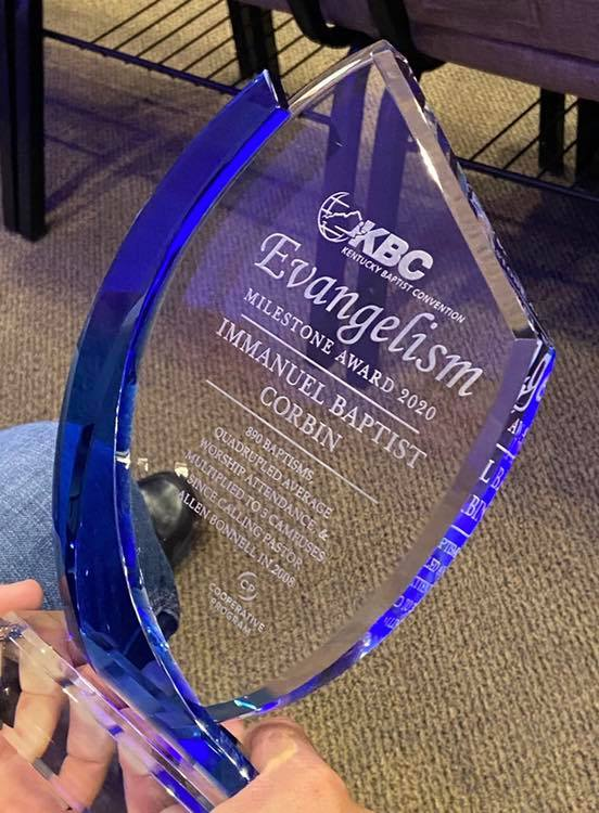 KBC Evangelism Milestone Award 2020 - The Kentucky Baptist Convention (KBC) named Pastor Allen Bonnell of Immauel Baptist Church of Corbin for this award. #EvangelismMilestoneAward