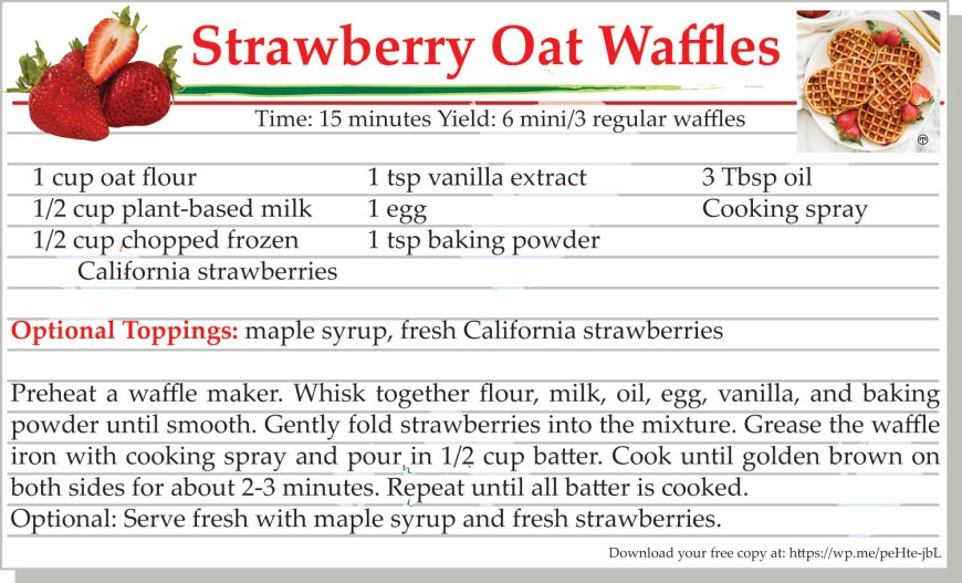 Strawberry Oat Waffles Recipe Card Printable #Strawberries #Waffles